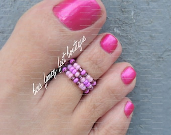 Stacking Toe Ring - Purple Passion Pattern Stretch Bead Toe Ring