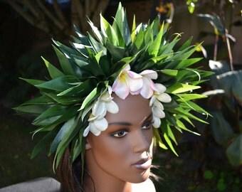 Plumeria and ti leaf  hair crown
