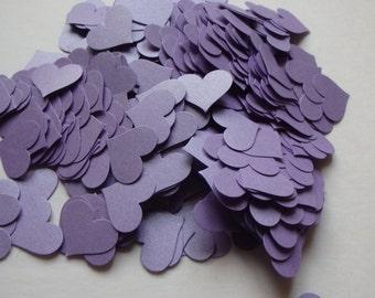 100 purple cardstock confetti hearts