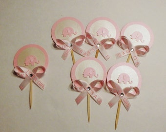 """6 pink elephant cupcake toppers with rhinestone and """"It's a girl"""" ribbon"""