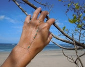 Tiny Turquoise Hand Chain, Turquoise Bracelet, Turquoise Slave Bracelet, Festival Hand Chain, Festival Jewelry
