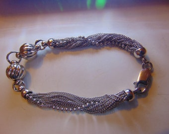 Sale Vintage Sterling Silver Chain Link and Bead Bracelet 14.4grams