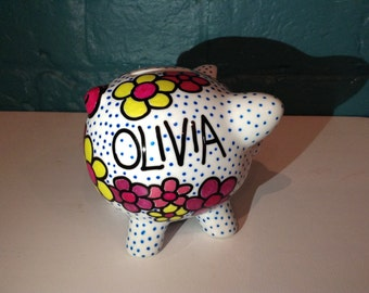 Girly Flower Piggy Bank - Personalised