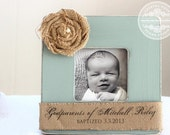 Baptism Christening Gift for Godparents Custom Personalized Burlap Picture Frame Godmother Godfather Gift