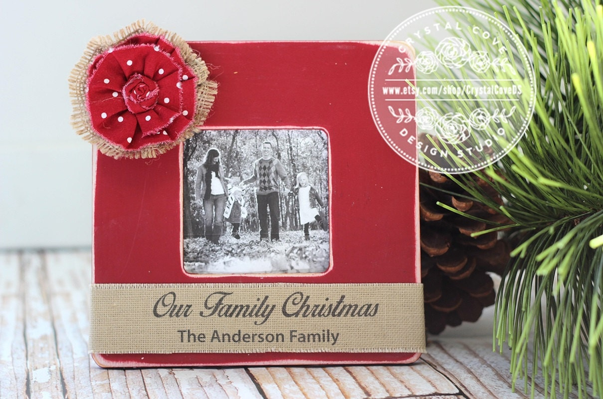 Our Family Christmas Personalized Picture Frame Rustic Home