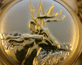 Outstanding Gift & Free Shipping! Golden Deer • Beautiful Quartz Pocket Watch • Silver and Gold Finish • Working and Ready for Use