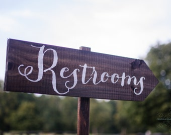 Wedding Sign, Wedding Signs - Wedding Restrooms Sign Rustic WS-11