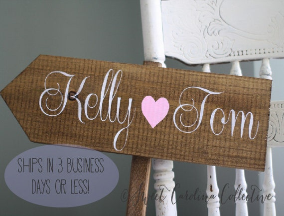 Rustic Wedding Gifts For Bride And Groom : Rustic Wedding Sign - Bride and Groom Names with Heart WS-82