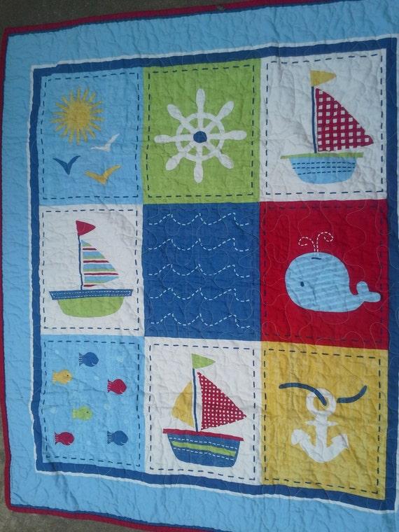 Baby Boy Cribs: Crib Quilt Baby Boy Crib Ships Ahoy Nautical Crib Read To Ship