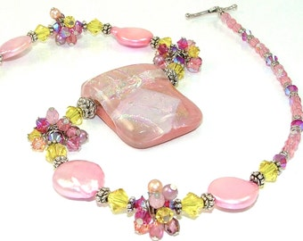 MAJOR MARKDOWN - Bright Coral Pink Yellow Wire Wrapped Crystal Clusters on a Beaded Dichroic Fused Glass Necklace