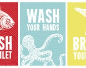 Set of 3 Kid's Bathroom Wall Art - Flush, Wash & Brush Sea Creature Prints or Canvases in Light Blue, Red and Yellow