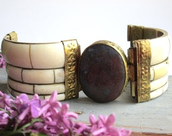 Vintage Bracelet Bangle  Bracelet  Cuff Boho Jewelry Faux Ivory Brass Stone Hinged  Womens Accessories  Gift For Her