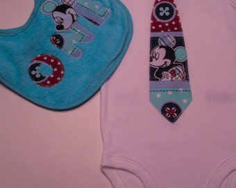Newborn baby Mickey mouse tie baby bodysuit,  with matching bid and burpcloth infants  personalized outfit onesie