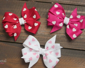 Valentine's Day Heart Pinwheel Bows