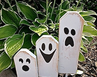 Boo - Halloween Ghostly Trio of Wooden Block Characters