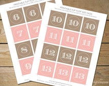 Printable Flip Flop Size Tags, Instant Download Template // Wedding Flip Flop Tags, DIY Flip Flop Favor // Latte and Pink Wedding