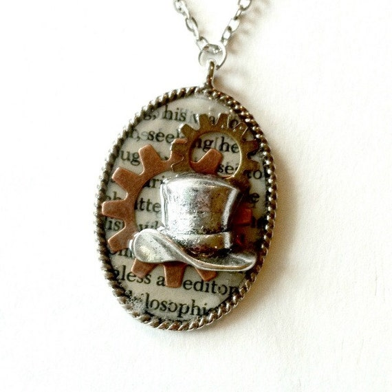 Mad Hatter Necklace Steampunk tophat gears Handmade Gift