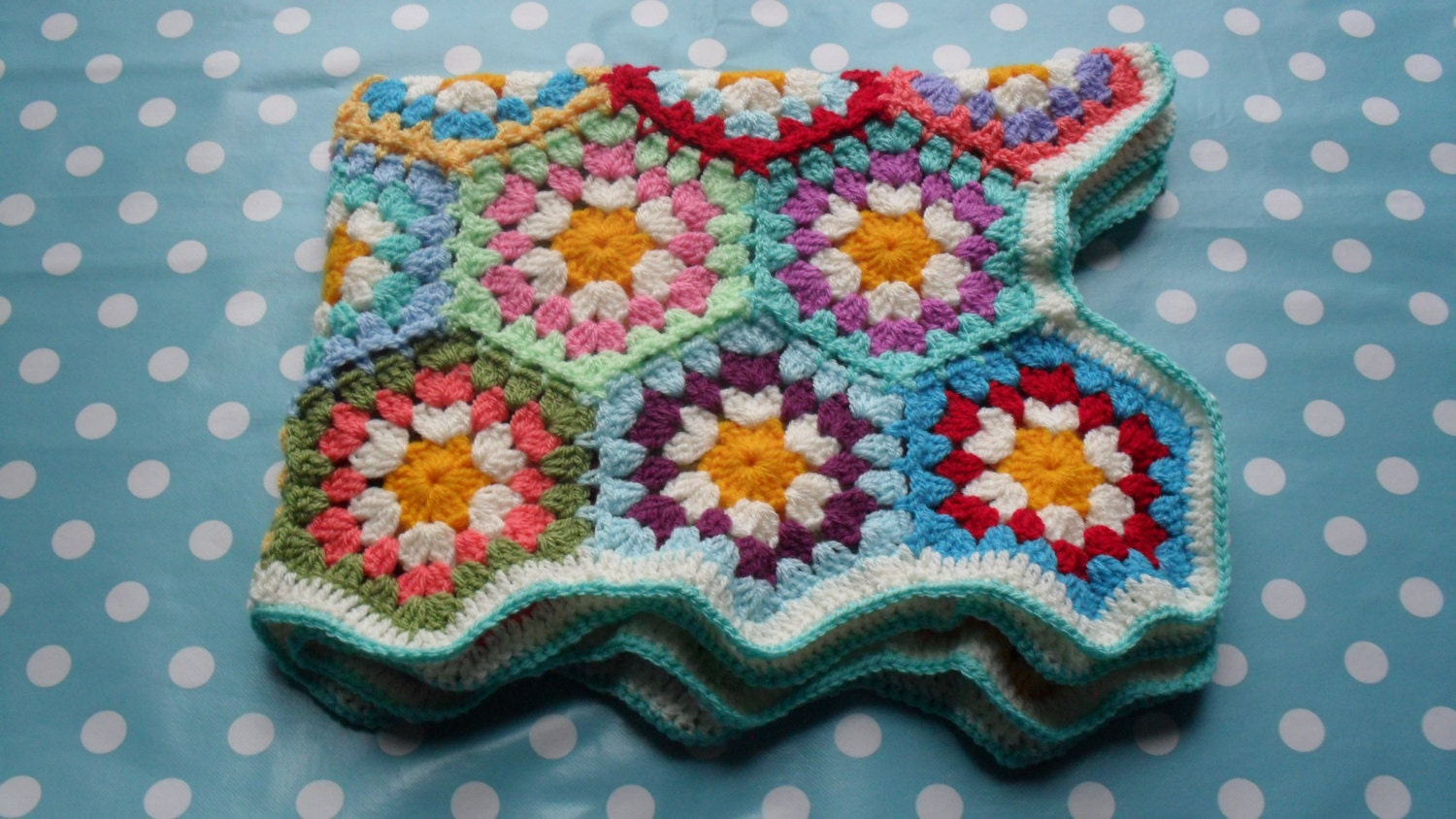 Crochet Daisy Baby Blanket Pattern : Daisy Baby Blanket Crochet Hexagon Baby by AddiesKnittedGifts
