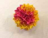 Pink and Yellow Paper Centerpiece
