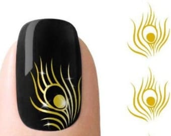 Gold Peacock Feather Stickers Nail Art Embellishments