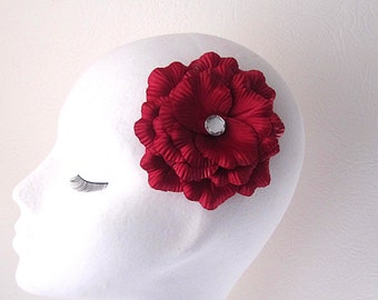 Red Flower Pin, Fabric Flower Corsage, Bridesmaid Flower, Wedding Pin, Red Weddings, Flower Girl Corsage