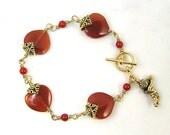 Carnelian Hearts Bracelet