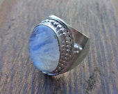 Silver Plated Moonstone Cocktail Statement Ring