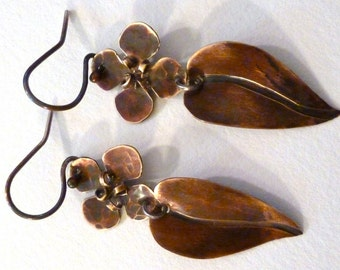 Brass Flower and Leaf Earrings