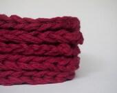 hand knit plushy cotton scrubbies in wine or burgundy