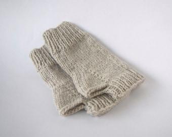 custom knit fingerless mittens-- the condyle wristwarmers in linen