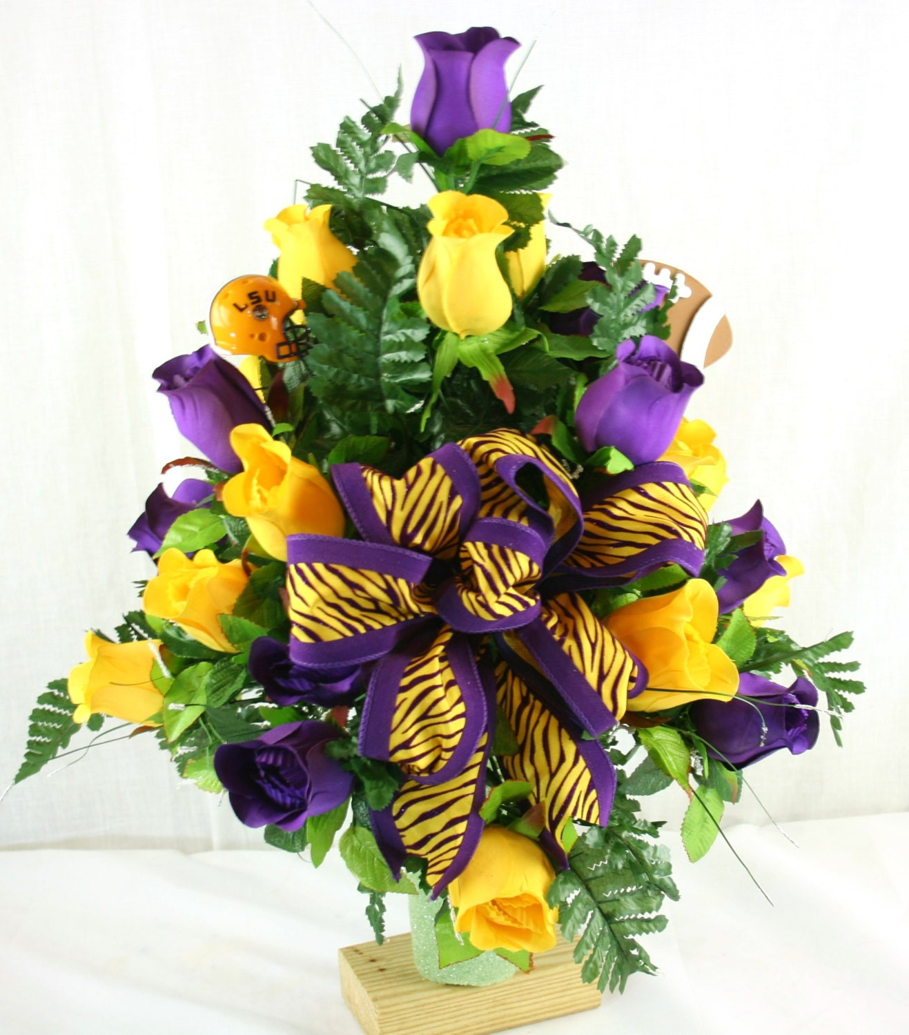 Lsu Tiger S Purple And Yellow Roses 3 Inch Vase By