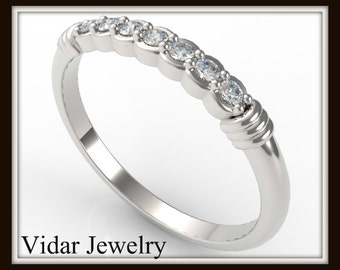 Diamond White Gold Wedding Band-Unique Ring Design,Womens Diamond Wedding Band,Thin Band,Bridal Diamond Ring