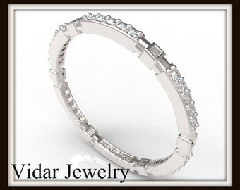White Gold Diamond Microband,Unique Ring,Unique Wedding Band,Thin Gold Wedding Band,Womens Wedding Ring,Stackable Ring