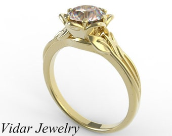 Flower Engagement Ring,Morganite Engagement Ring,Unique Engagement Ring,Solitaire Engagement Ring,14k Rose Gold Engagement Ring,Leaves