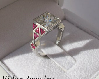Engagement Ring,Diamond Engagement Ring,Ruby Engagement ring,Unique,Princess Cut Ruby Diamond Engagement ring 14k White Gold,Unique Ring