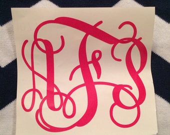 4 inch vine monogram vinyl decal