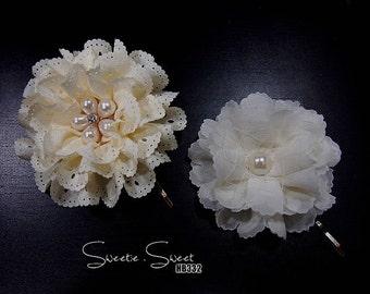 Set of 2 Bridal Hair Pin, Wedding Hair Pin, Bridesmaid hair accessory, Bridesmaid Hair Pin, Lace Flower Hair Pin