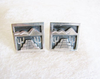 Southwest Cufflinks Aztec Sterling Silver Cufflinks 1930's Square Cufflinks Mens Cuff Links Father's Day Birthday Excutive Gifts For Him
