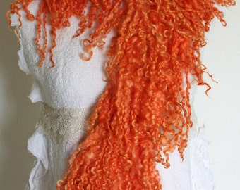 hand felted scarf/shawl,Wensleydale-locks,Merino wool, hand-dyed,madder, orange