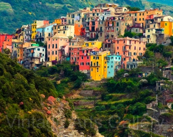 Fine Art Print - Cinque Terre - Corniglia - Ready To Print 300dpi - Travel Art Print - Wall Decor - Instant Download