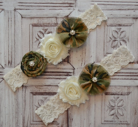Camo Wedding Garters: Camouflage Wedding Garter Set Ivory & By SpecialTouchBridal