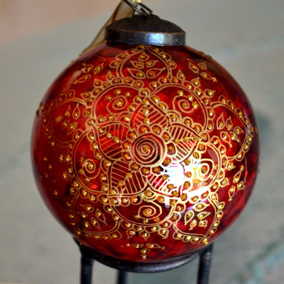 Handmade christmas ornament bright red glass bulb