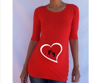 Valentines maternity Shirt  heart with footprints Perfect for valentine's day or everyday use, 3/4 sleeves