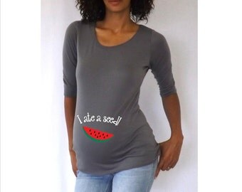 "Cute ""I ate a seed!"" Maternity Shirt- White or Gray"