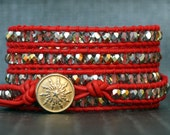 wrap bracelet- marea czech crystal on red leather- clear crystal gold red