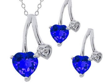 2 Ct Blue Sapphire Heart Diamond Stud Earrings and Pendant .925 Sterling Silver Rhodium Finish