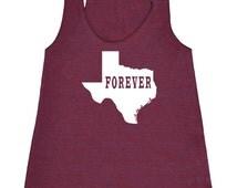 Texas Forever Tank Top.Womens American Apparel Tri Blend Racerback Tank.Texas Clothing.Texas Shirt.Texas Shirts.Texas Tank.Texas Love Pride