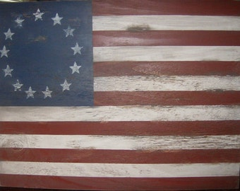 "Distressed American Flag wall decor 1776 style-32""x 24""/Patriotic/Americana/Red White Blue"