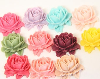 12 pcs of resin rose with leave cabochon 30x32x28m-RC0074-Mixture color