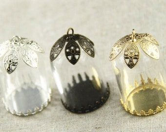6 pcs glass  bottle with setting full set  include setting filigree top hang on 38x25mm